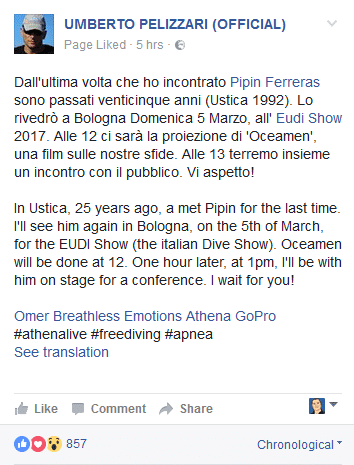 Announcement Post on Umberto Pelizzari's Facebook Page