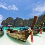 Long Tail Boat at Maya bay, PhiPhi Island , Phuket Thailand