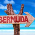 Bermuda wooden sign with beach background