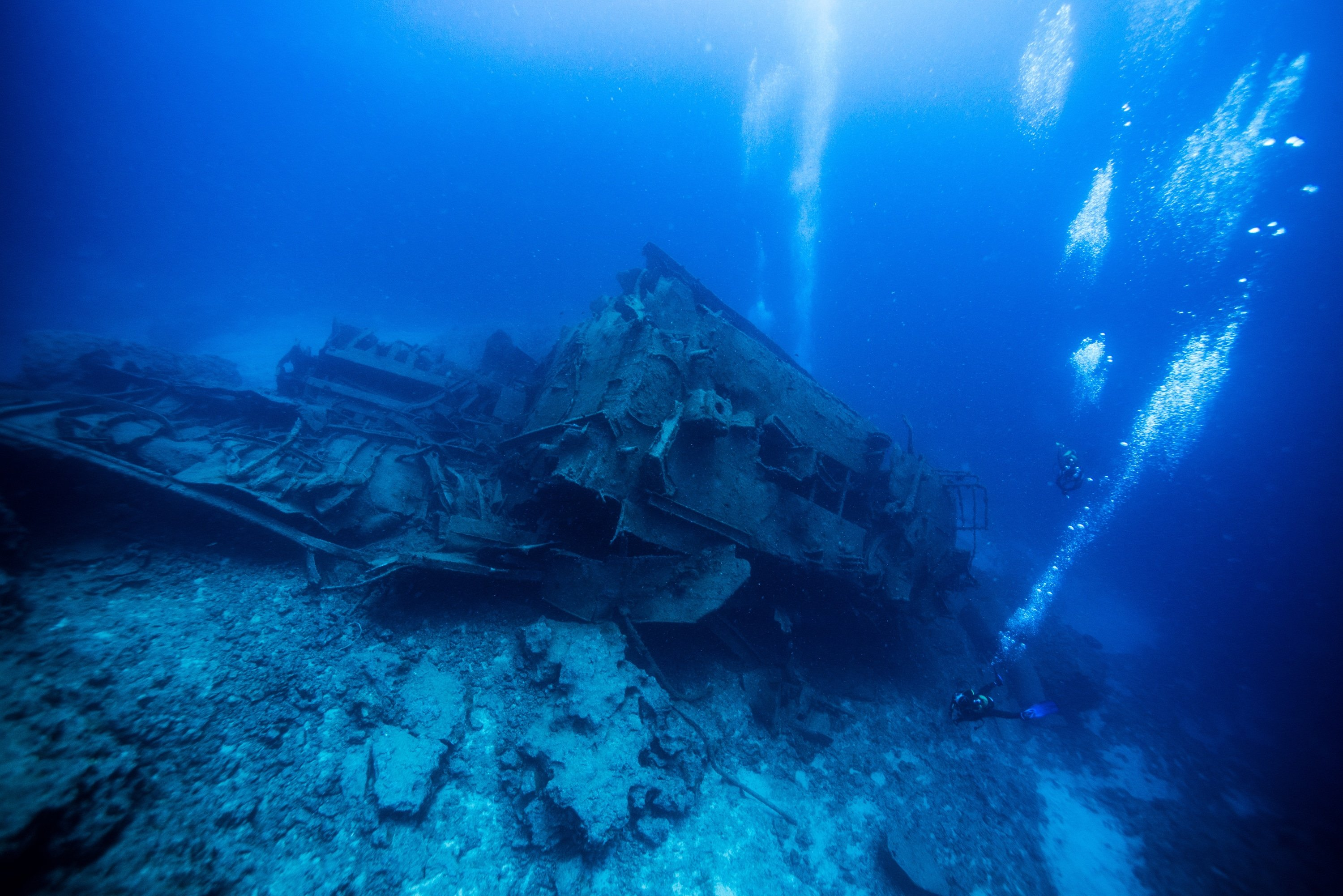 Scuba Divers on a Wreck