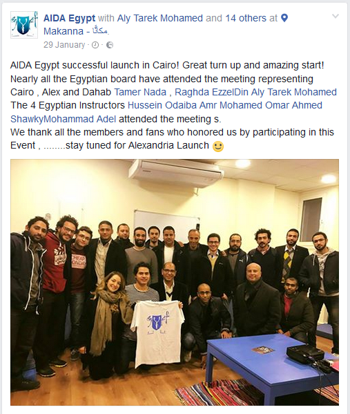 AIDA Egypt Facebook Launch Post