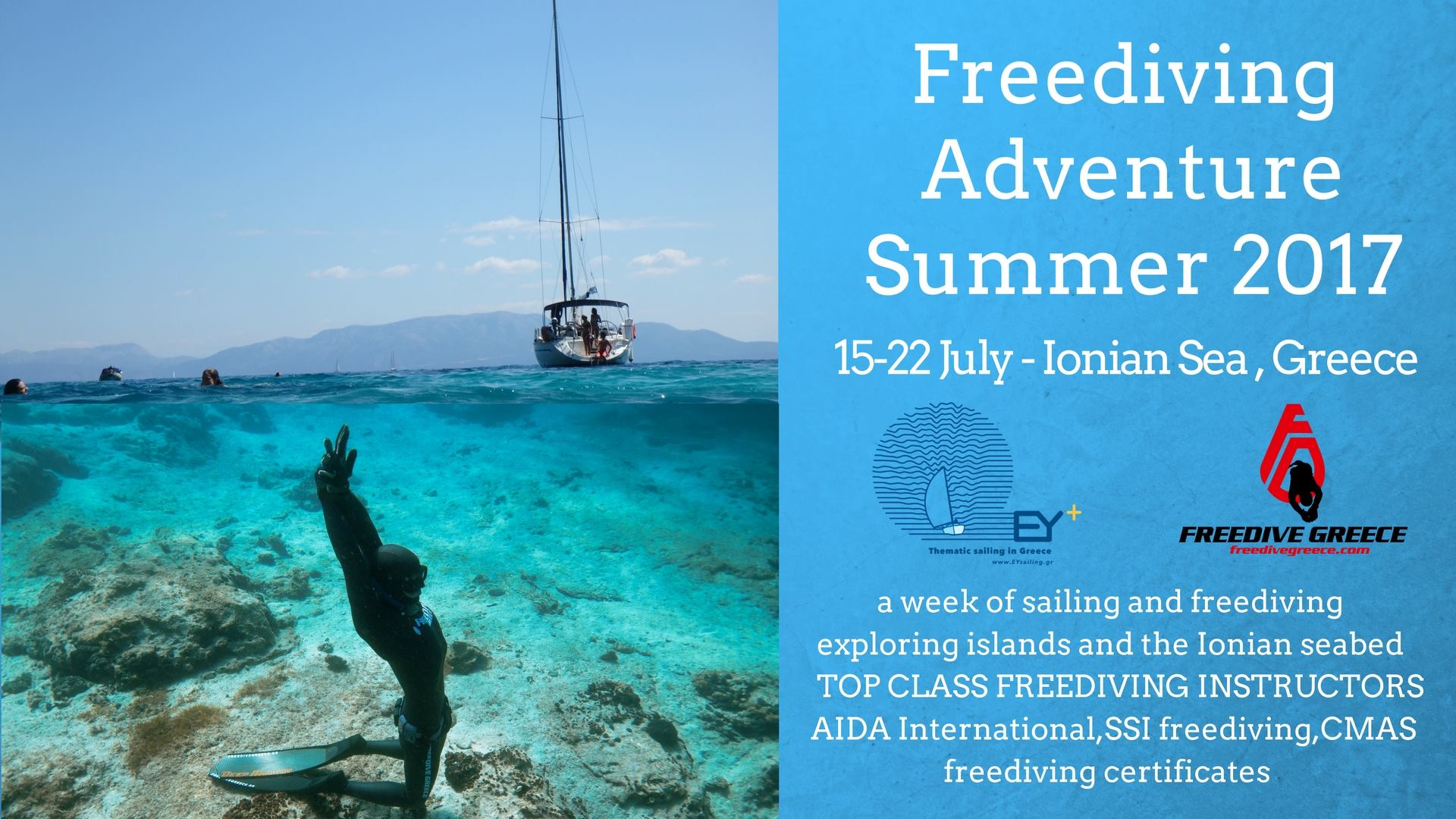 Combine Sailing With Freediving via EYSailing and Freedive Greece