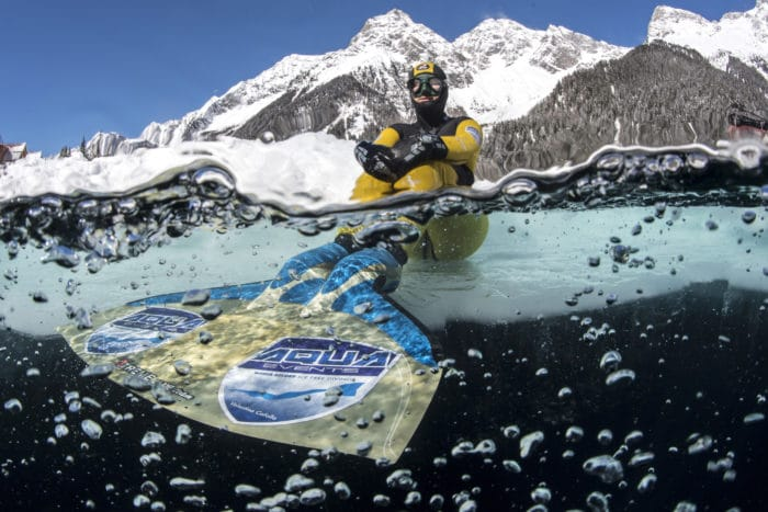 Valentina Cafolla of Croatia is seen during the successful attempt to set a new Apnea distance World record under the ice with a distance of 125 meters at lake Anterselva in Italy on March 12, 2017.