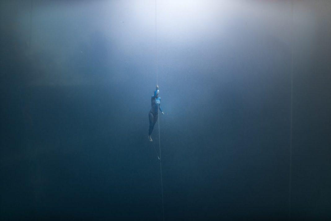 Anna Von Boetticher at Dean's Blue Hole.