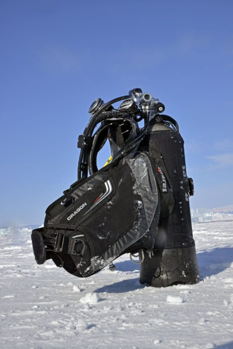 """The Dragon"" The Mares / SSI / rEvo Dive Expedition Team also took a Kaila and Dragon model with them to test in the waters of Lake Baikal, Siberia and were happy to see they performed extremely well, even in these cold conditions."