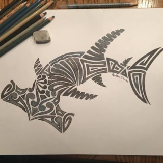 Tribal Hammerhead by Heather Schaefer at ArtsyTooCreations.com