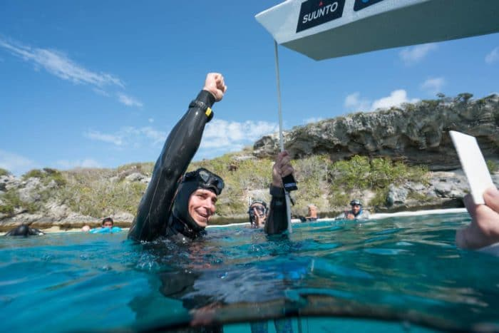 Luke Mallis happy after a 58m CWT Dive and National Record (photo © Daan Verhoeven)