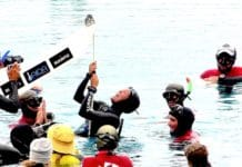Triumphant and joyful Alessia celebrates at the surface (photo © Ruben Quido)