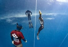 Hanako is showing just how super strong the Japanese lady freedivers are (photo © Daan Verhoeven)