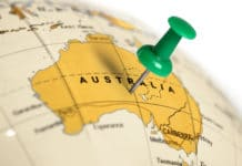 Location Australia. Green pin on the map.