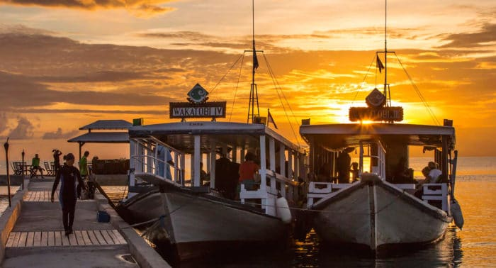 Sunset on the Wakatobi Boats
