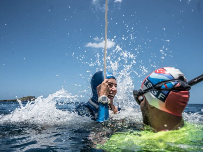 Sofía Gómez Uribe Sets New CMAS Bi-Fins Freediving World Record. Photo - Kalindi Wijsmuller