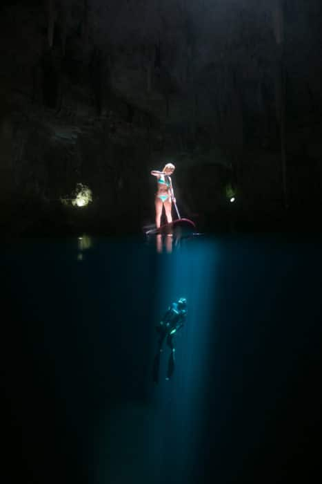 Alison Teal in the Mexico Cenotes.
