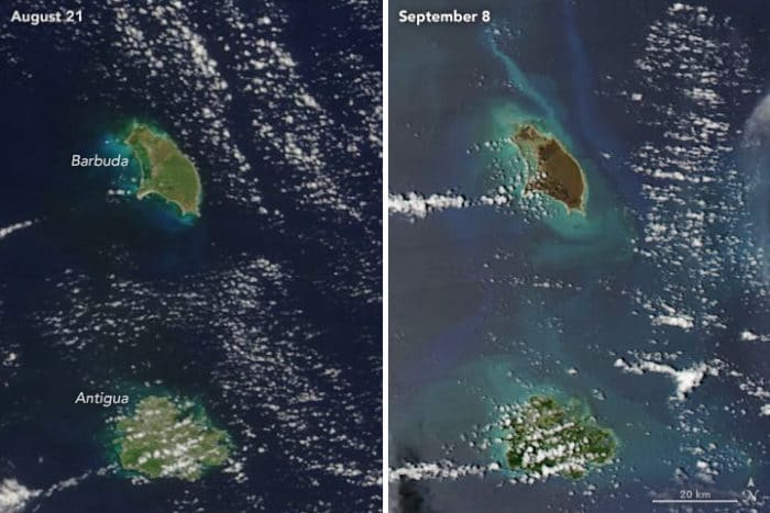 Barbuda Before and After images from NASA