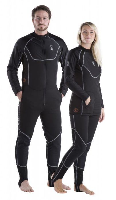 The Arctic Expedition is available as a one-piece or two-piece for both men and women