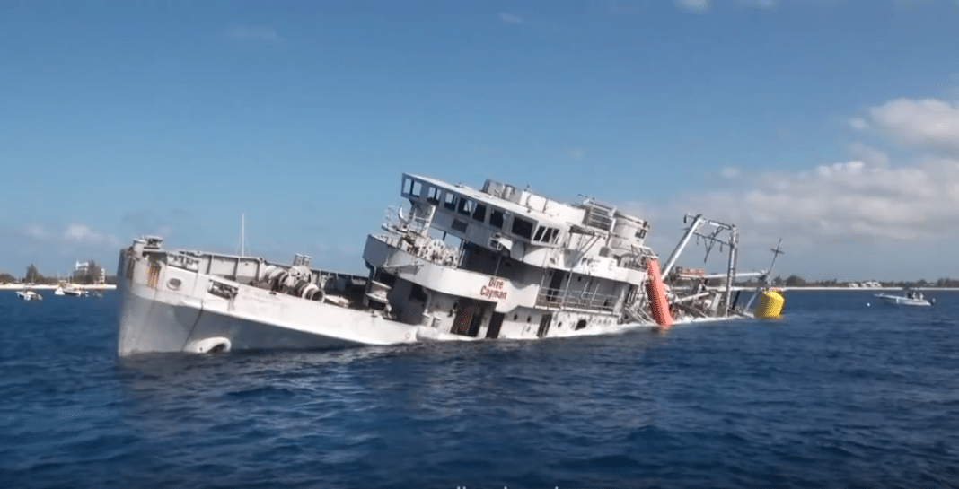USS Kittiwake toppled onto its side by tropical storm Nate