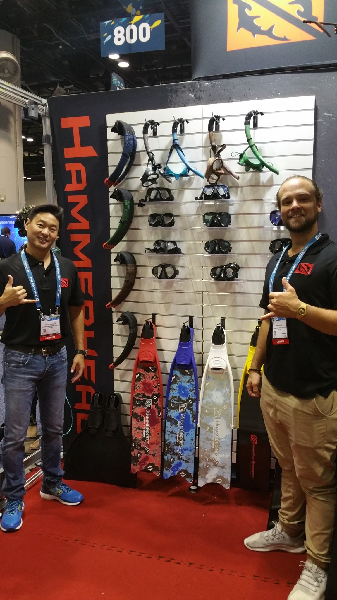 Kevin and Frank display hyrdo-dipped masks/snorkels and colorful fins