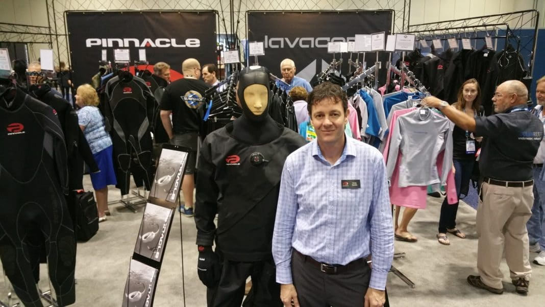Corey Gordon, CEO of Pinnacle and Lavacore with the Liberator Drysuit