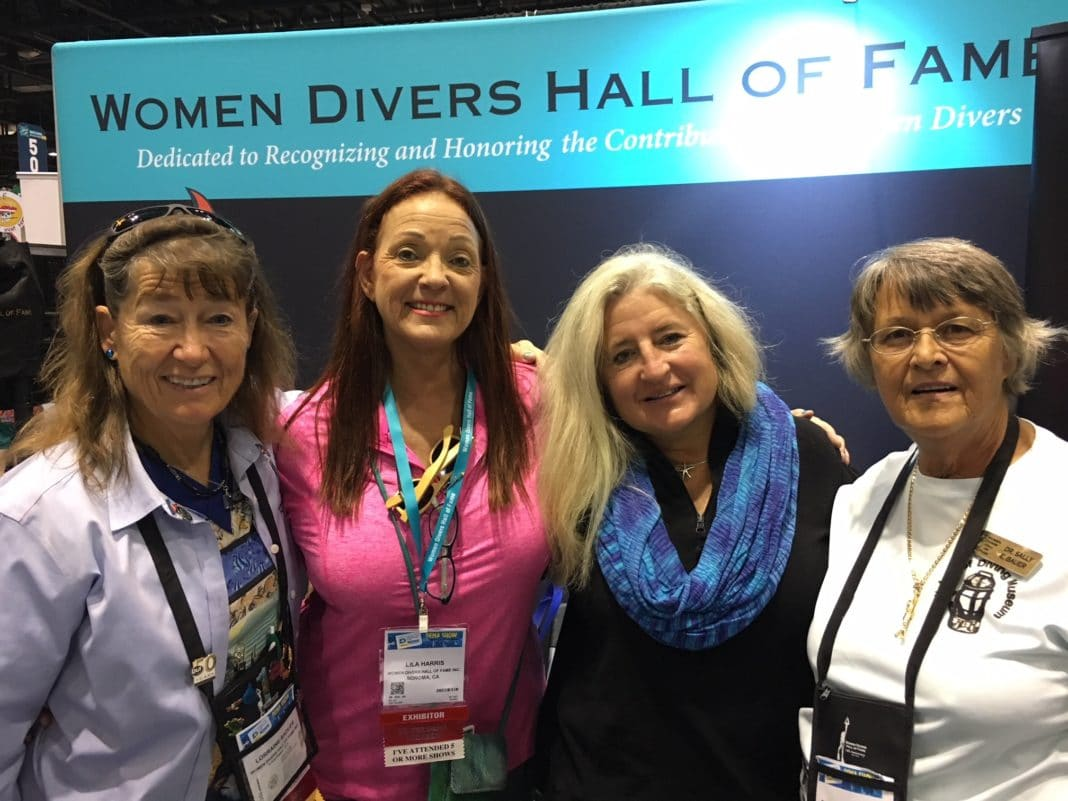 WDHOF members Lorraine Sadler and Dr. Sally E. Bauer with associates at DEMA 2017 (photo by Francesca Koe)