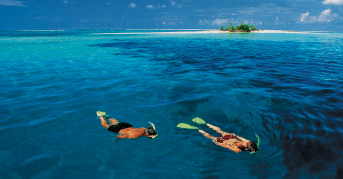 Snorkeling in the warm, clear waters of the Solomon Islands