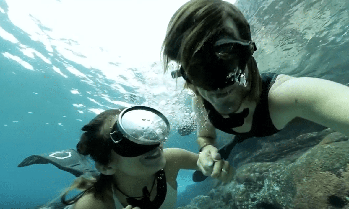 Free diving couple spend their time diving and filming sharks