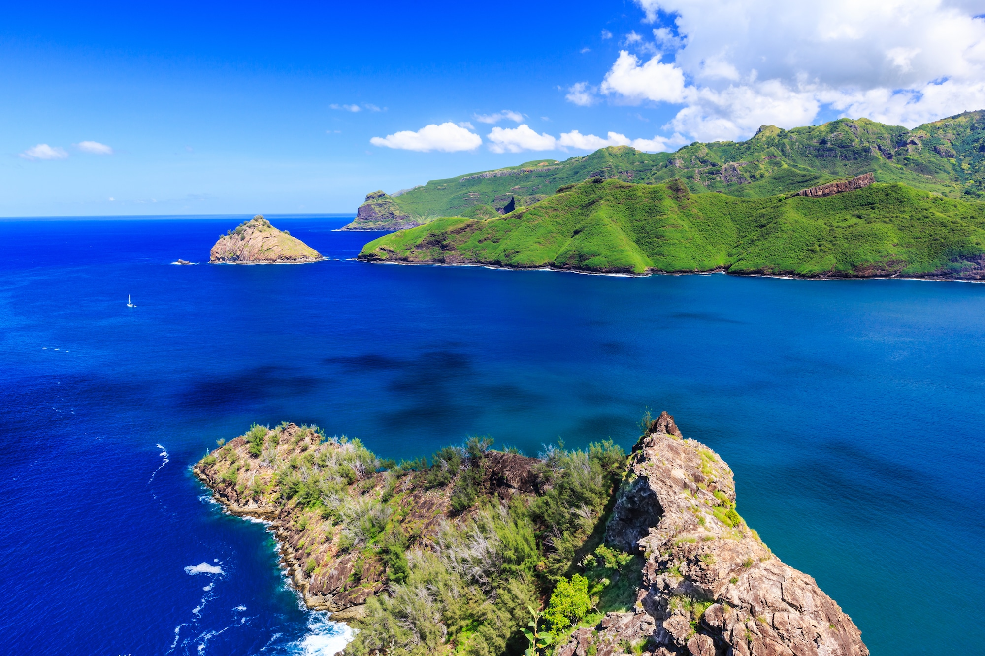 Marquesas Islands. Bay of Taiohae on the island of Nuku Hiva.