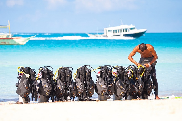 scuba gear set up on beach
