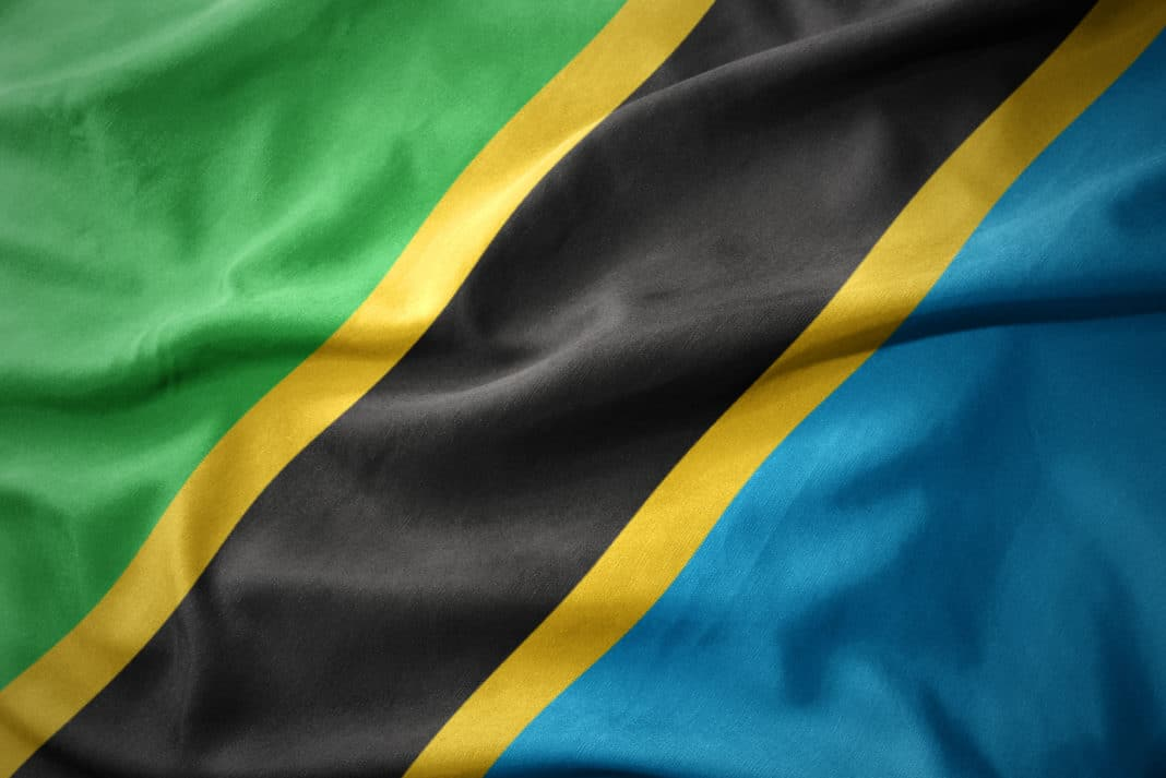 Waving colorful flag of Tanzania.