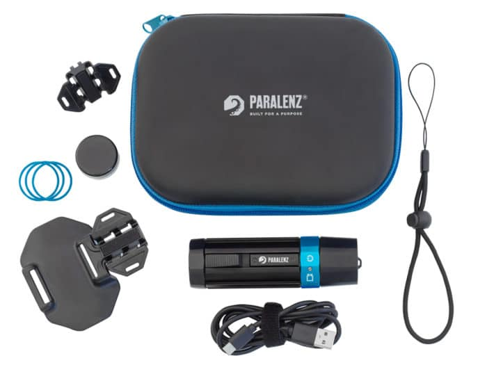 Kit included with the Paralenz - case, leash, USB-C charging cable, mask mount, GoPro style mount, extra O-rings, O-ring grease.