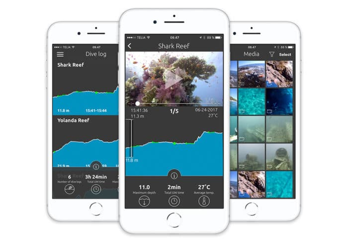 Paralenz created their own app for media management, sharing, and even dive logging with the incorporated depth sensor.