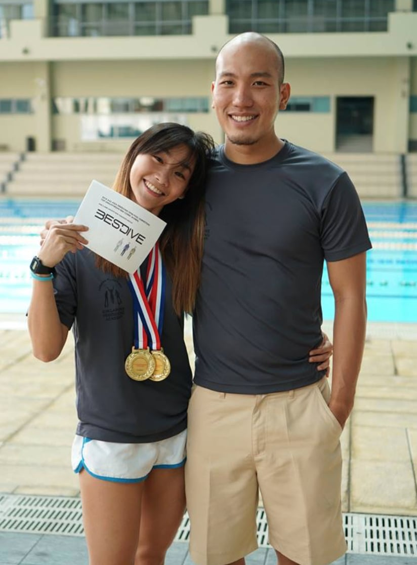 New Singaporean National Record holders Jonathan Chong and Lim Yee Hui (R-L) (Photo Credit: Cheryl Ema Montero)