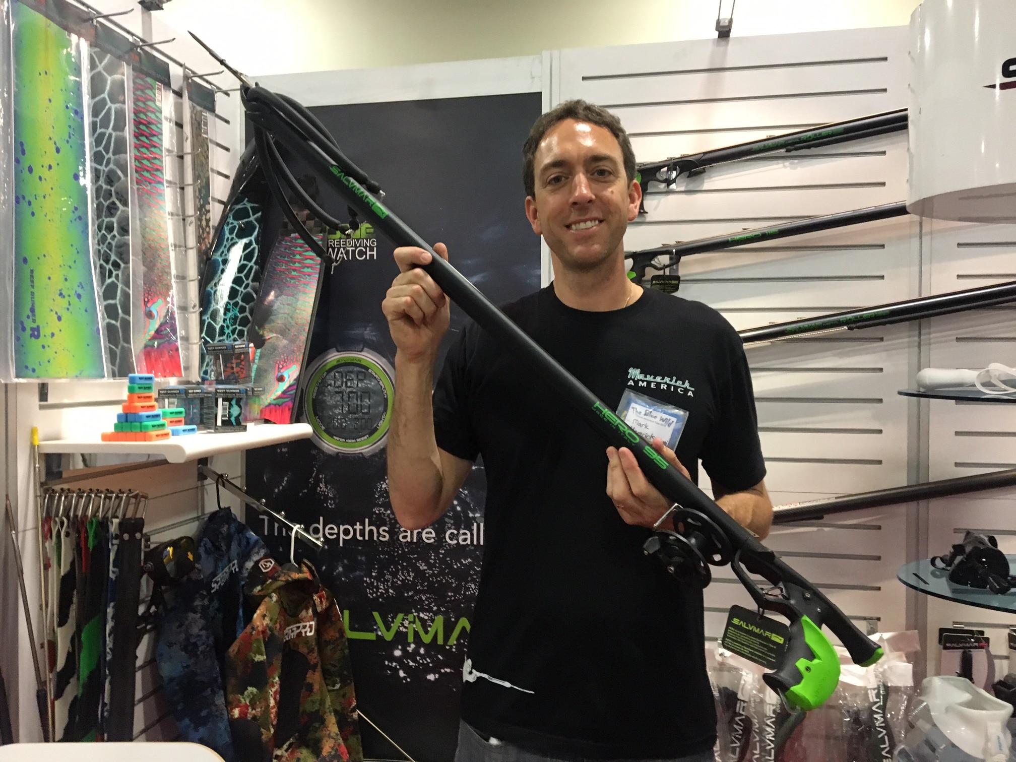 Maverick America's Mark Laboccetta with Salvimar's latest speargun, the Hero 95.