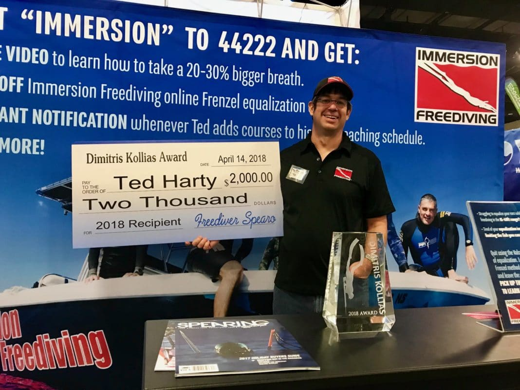 Immersion Freediving's Ted Harty with the Dimitris Kollias award