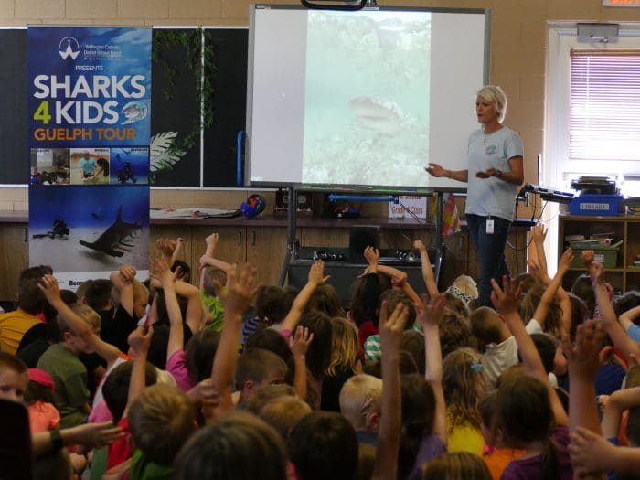 Jillian Morris Brake from Sharks4kids teaching students about sharks