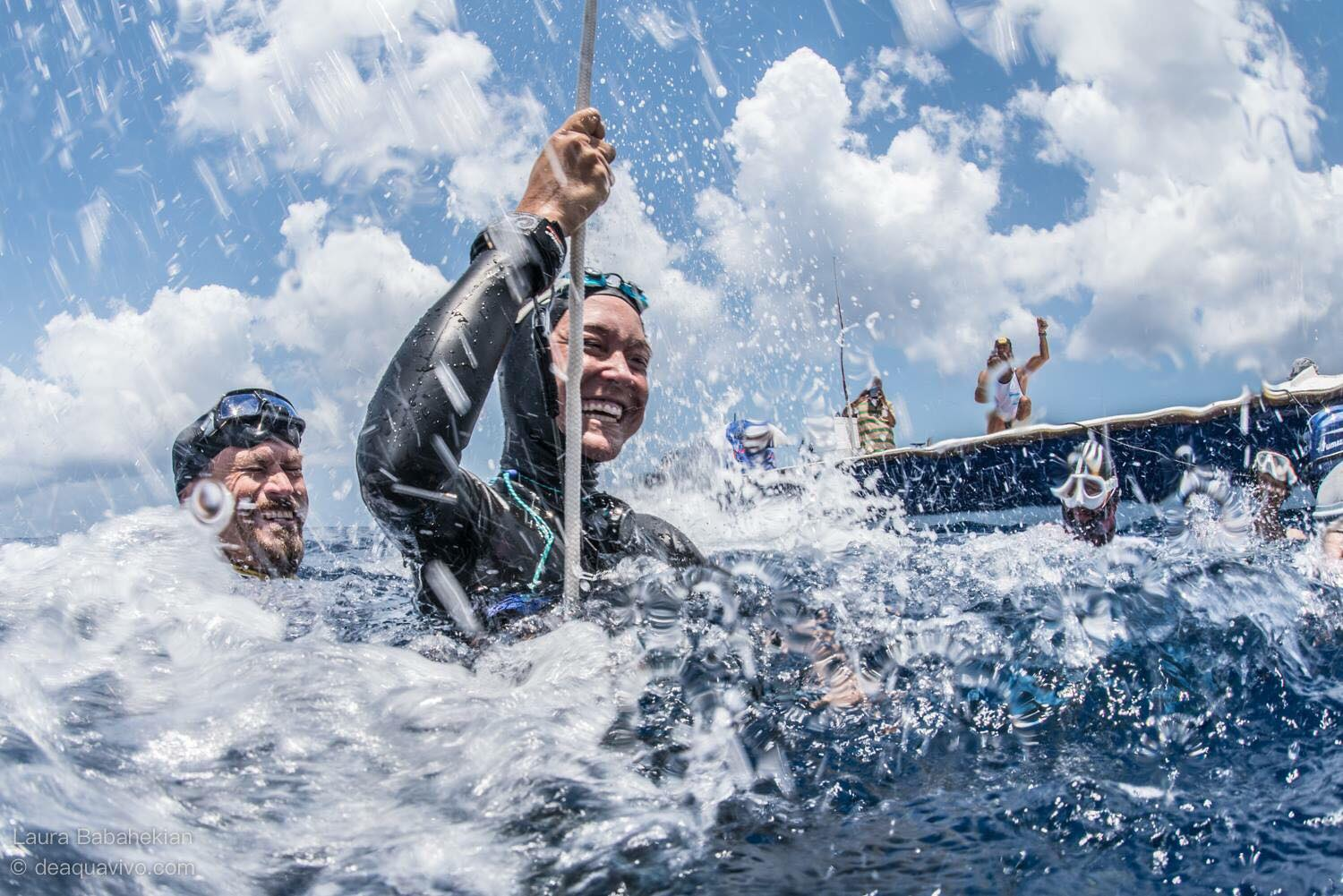 Alessia Zecchini Set News Constant Weight Freediving World Record. Photo by Laura Babahekian