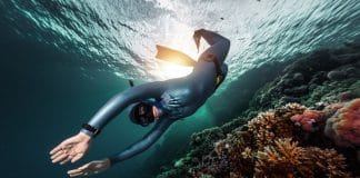 Freediver swimming underwater over vivid coral reef. Red Sea, Egypt