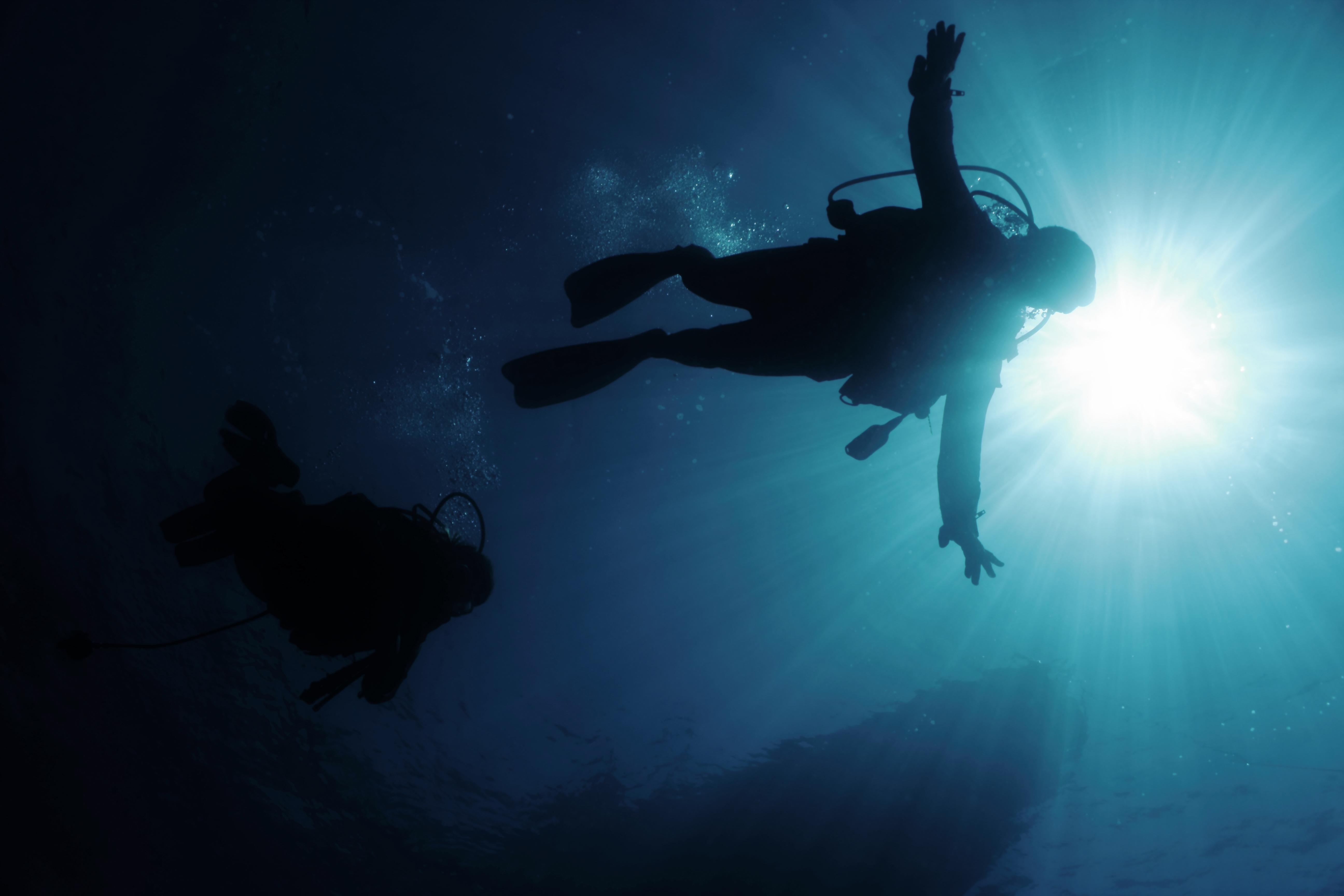 Divers in back-light