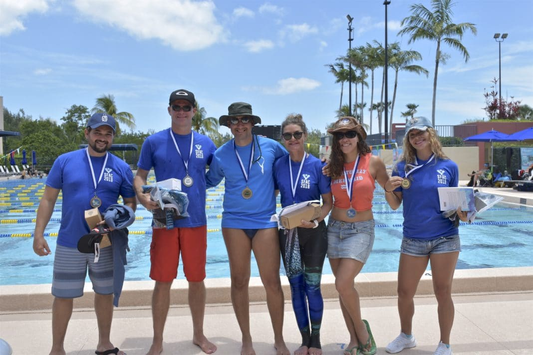 The winners (left to right) Luis Arismendi (bronze) Richard Collett (silver) Antonio Del Duca (gold) Claire Paris (gold) Karla Mendez (silver) Sandra Zapata (bronze)