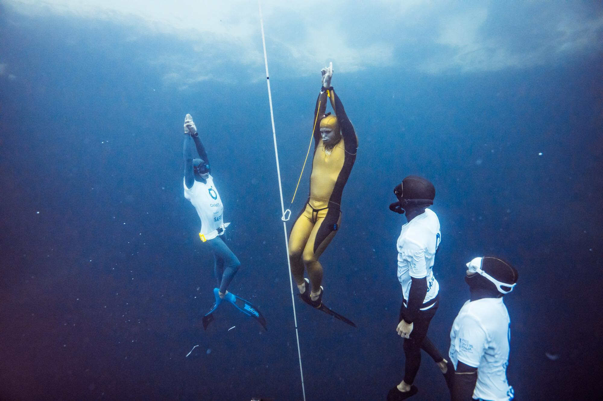 Alexey Molchanov 130m World Record at OriginECN Vertical Blue. Photo by Alex St-Jean