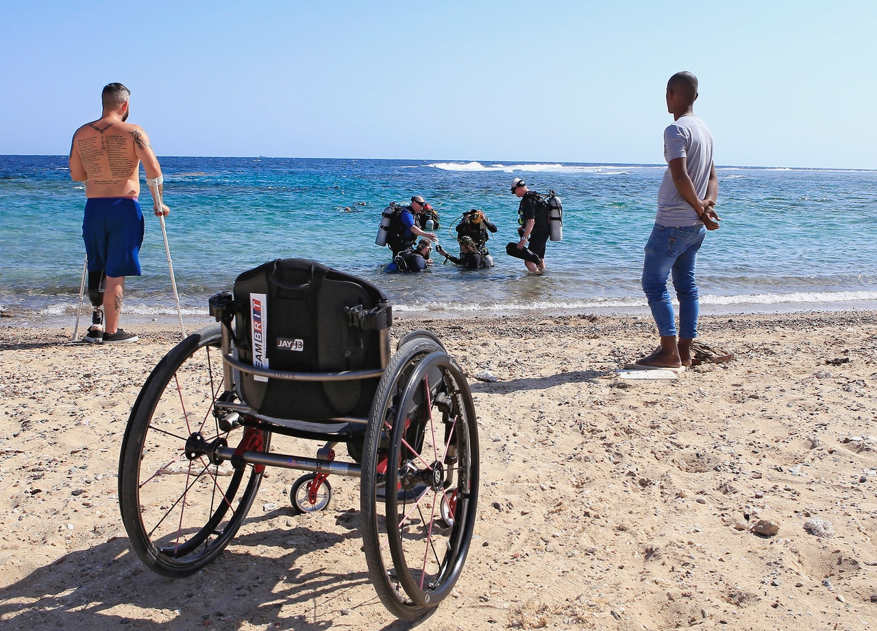 Deptherapy Programme Members undertaking open water training at Roots Red Sea.