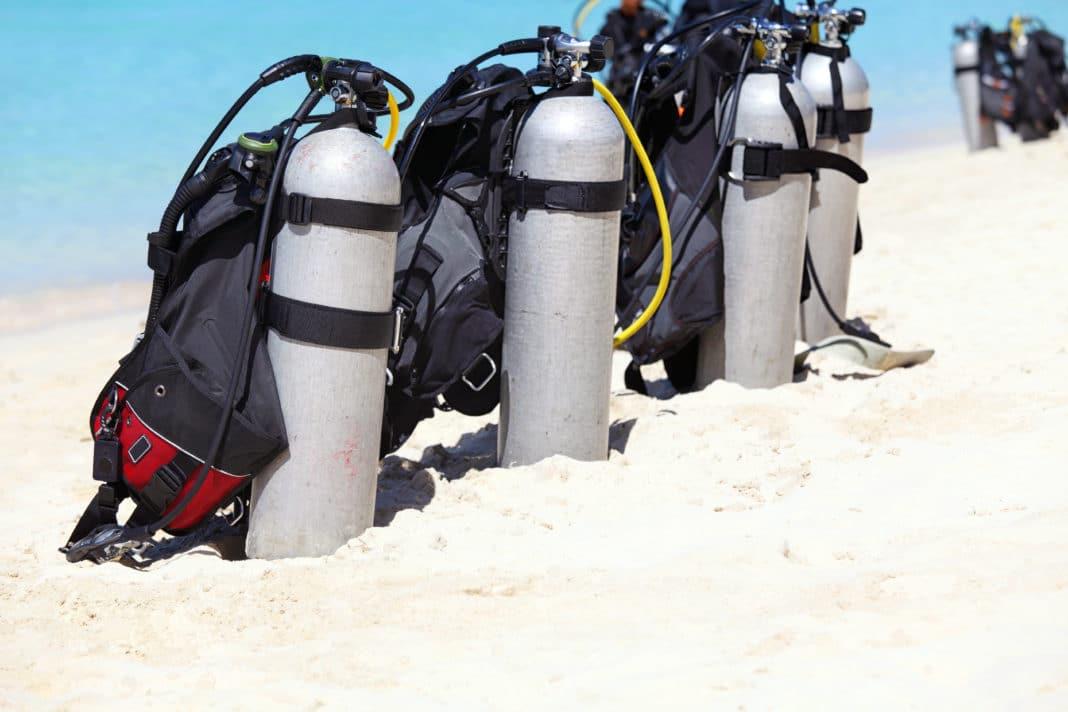Scuba tanks on the beach, Boracay Island, Philippines