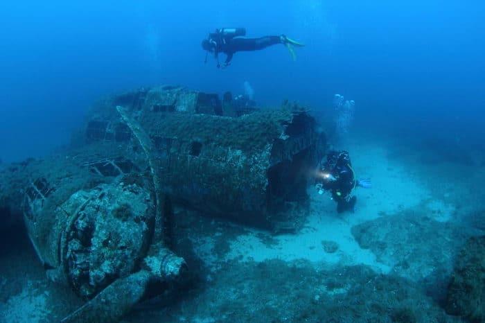 Scuba diver exploring a wreck