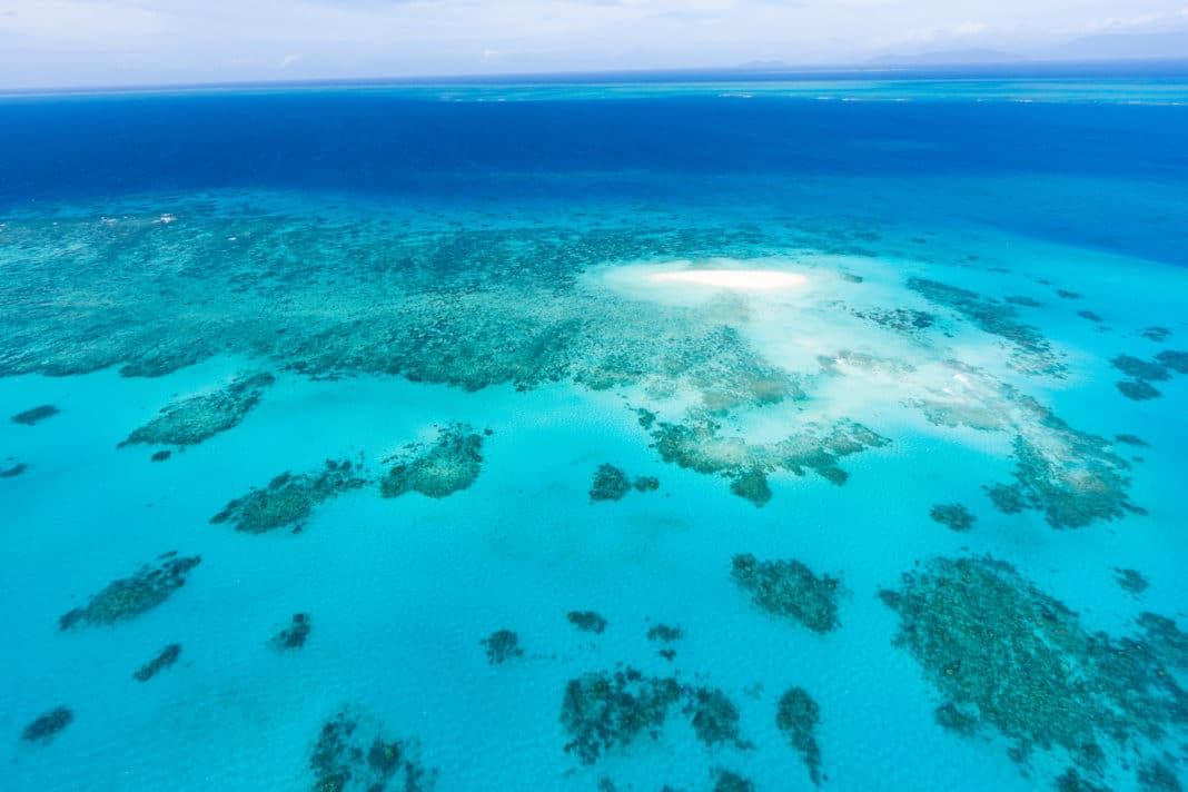 Coral sand cay on Great Barrier Reef, Queensland, Australia