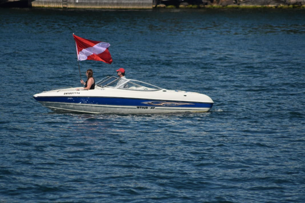 Dive Flag on Boat by Charles Davis