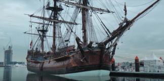 Replica of Captain Cook's ship HMS Endeavour