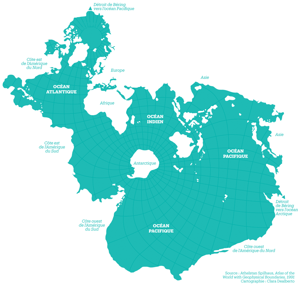 Athelstan Spilhaus's World Ocean Map