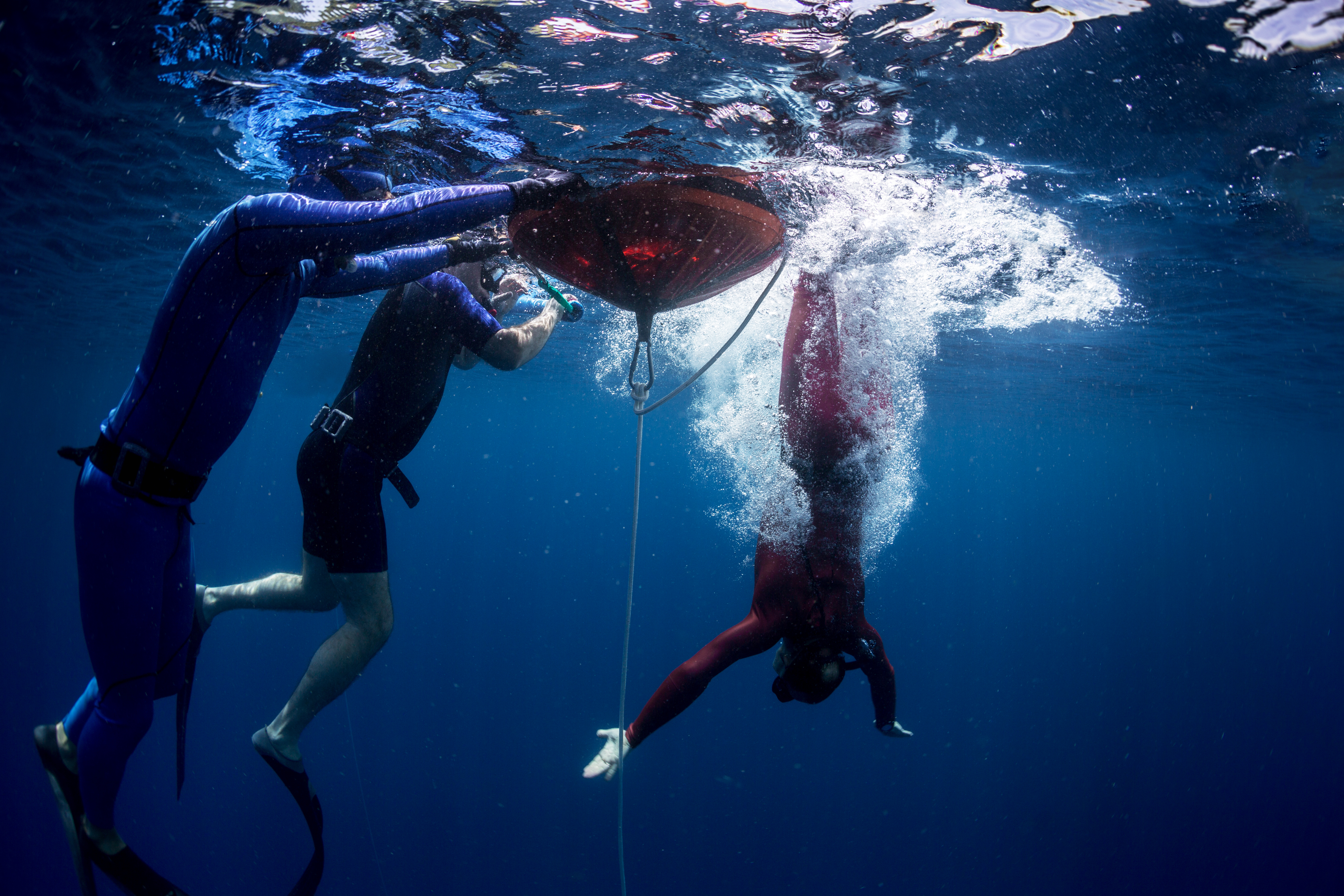Free diver starts descending to the depth. Free immersion