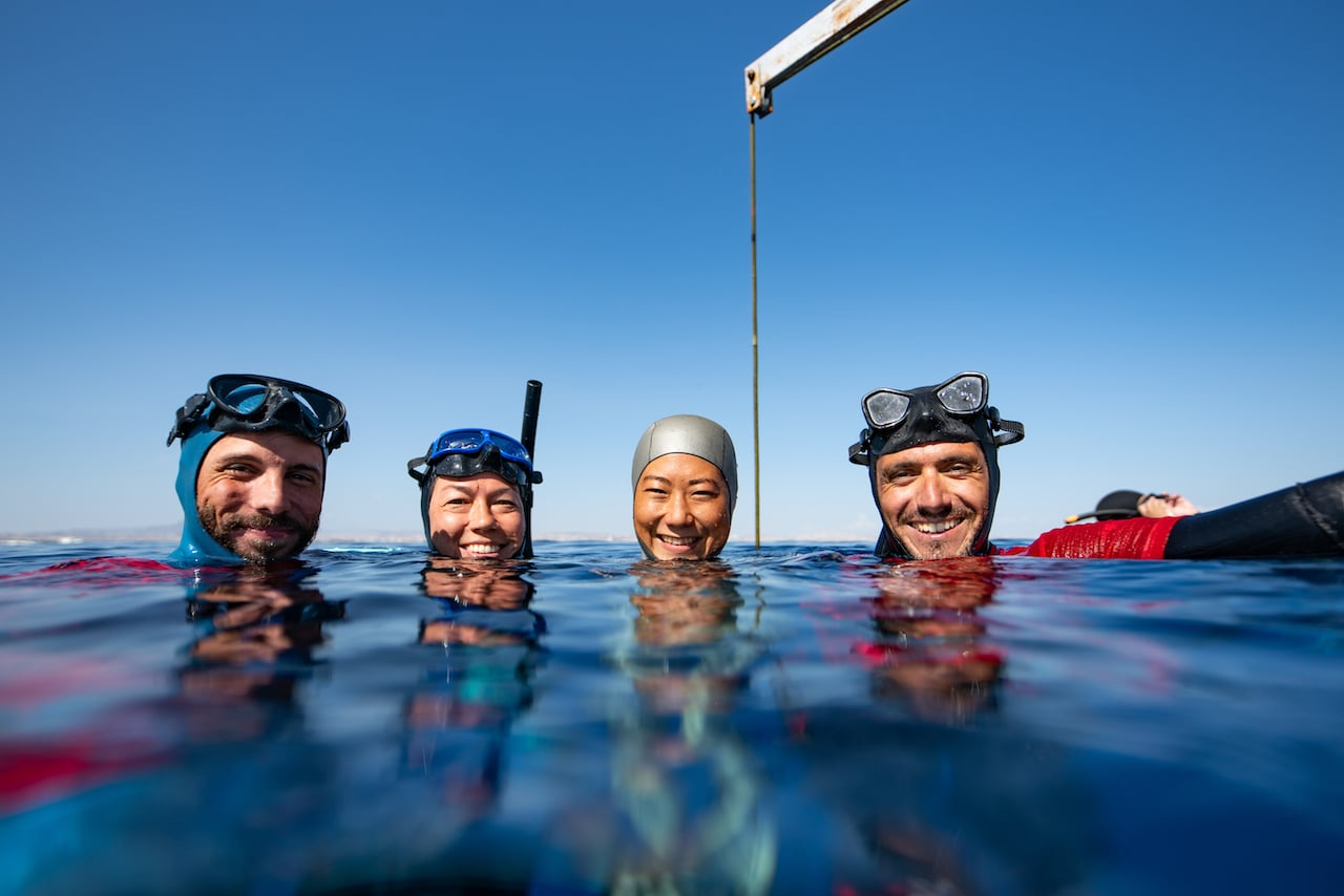 As freedivers we are not related but we are all family...(L to R Joan Capdevila of ESP, Francesca Koe of USA, Sayuri Kinoshita of JPN, and Pavlos Kourtellas of CYP