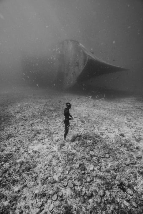 Julien Borde in front of a C-59 shipwreck in the Sea of Cortez, Mexico