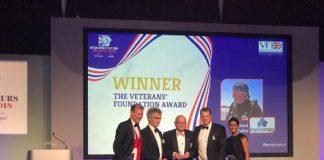 Dr Richard Cullen collects the Veterans' Foundation Award alongside Josh Boggi. Photo – Heropreneurs.